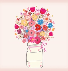 Watercolor painting bunch of flowers in a vase vector