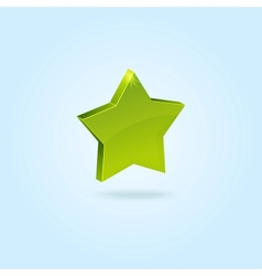 Green star symbol isolated on blue background vector