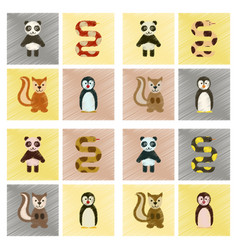 Assembly flat shading style icons panda bear snake vector