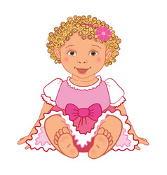 Baby girl in pink dress happy princes vector
