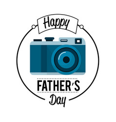 Cute card of father day with camera decoration vector