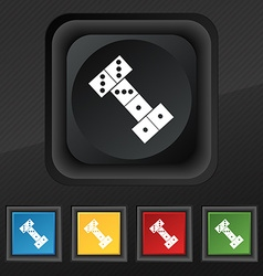 Domino icon symbol set of five colorful stylish vector