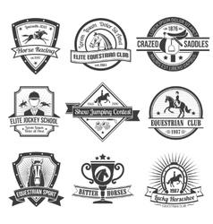 Equestrian sport emblems set vector