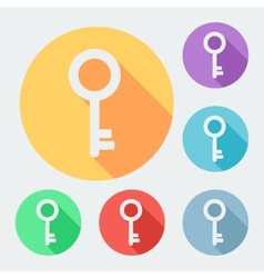 Flat style key icon with long shadow six colors vector image