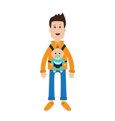 Funny cartoon guy cute male character holding boy vector