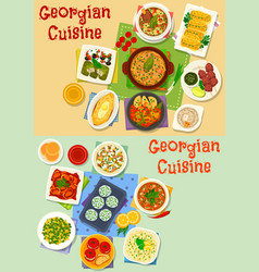 Georgian cuisine lunch icon set for food design vector