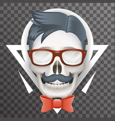 Human skull geek hipster fashion poster mustache vector