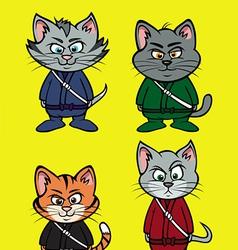 Kitten ninja lineup vector