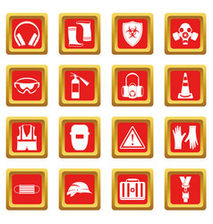 Safety icons set red vector