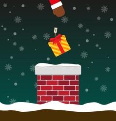 Santa Claus put gift box into chimney vector image
