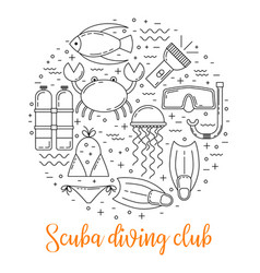 scuba diving line art background vector image vector image