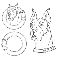 Set of drawing of the dog in the collar vector