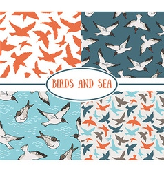 Set of seamless patterns Sea and birds vector image vector image