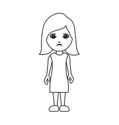 silhouette caricature sad woman with costume vector image