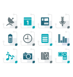 stylized mobile phone performance icons vector image vector image