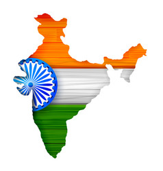tricolor indian flag map background for republic vector image