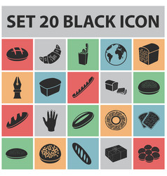 types of bread black icons in set collection for vector image