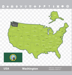 Washington flag and map vector