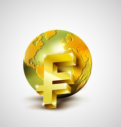 World economic concept with gold world and franc vector