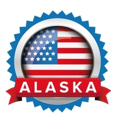Alaska and usa flag badge vector