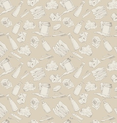 Seamless pattern with hand-drawn hygiene elements vector