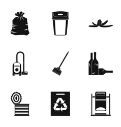 Types of waste icons set simple style vector