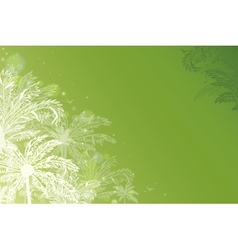 Green glowing palm trees horizontal background vector