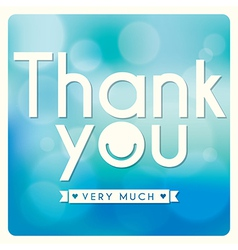 Thank you card design on blue background vector