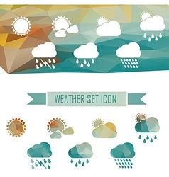 Weather icons in crystal effect vector