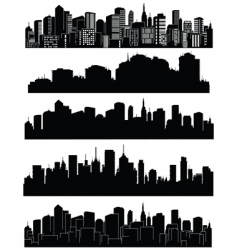set of cities silhouettes vector image