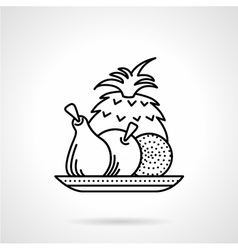 Fruit plate black line icon vector