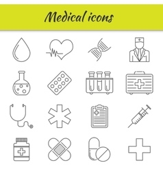 Outline icons set medical icon vector