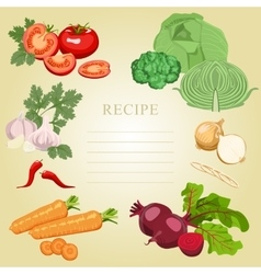 Blank recipes set of vegetables vector