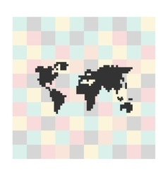 Pixel icon map on a square background vector
