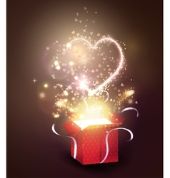 Opened gift-box with hearts vector