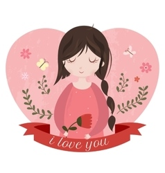 I love you card with adorable cartoon girl vector