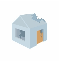 Destroyed house icon in cartoon style vector image