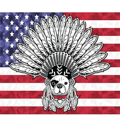 Native american french bulldog on usa flag vector