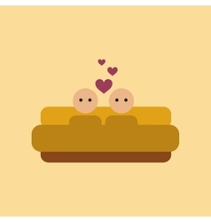 Flat icon on stylish background gay in bed vector