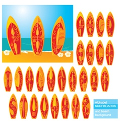 ABC - alphabet - surf boards vector image vector image