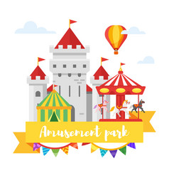 amusement park or funfair design vector image