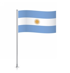 Argentina flag waving on a metallic pole vector