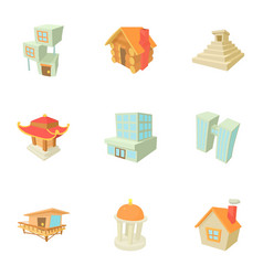 big city icons set cartoon style vector image vector image