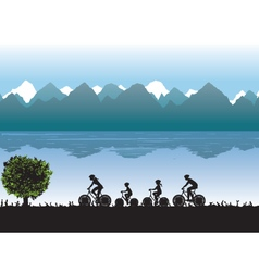 Black silhouettes of family on bicycles vector