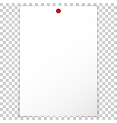 Blank album clean empty sheet paper a4 red pushpin vector