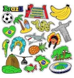 Brazil Travel Scrapbook Stickers Patches Badges vector image