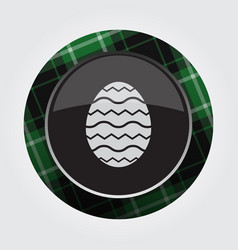 Button green black tartan - easter egg with waves vector