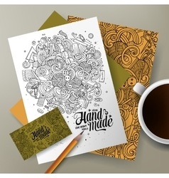 Cartoon cute hand drawn doodles handmade vector