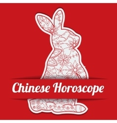 Chinese horoscope background with paper hare vector