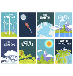 Clean energy and save earth our mother posters vector